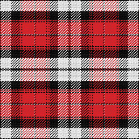 seamless pattern Scottish tartan, black, white, red  イラスト・ベクター素材
