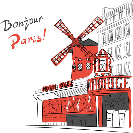 sketch of urban landscape with cabaret Moulin Rouge in Paris
