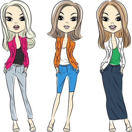 top model: vector set mooie mode meisjes topmodel in pakken Stock Illustratie