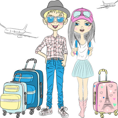 the top model: Vector Modern couple  beautiful fashion girl and hipster guy with suitcases travel the world on airplanes Illustration