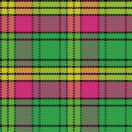 black and yellow: seamless pattern Scottish tartan, black, yellow, pink, green Illustration