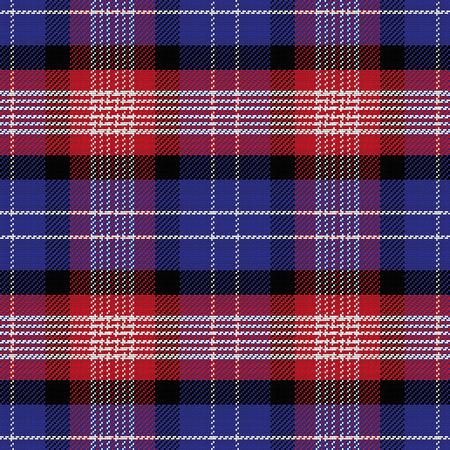 andrews: seamless Scottish pattern Saint Andrews Tartan Plaid, black, white, blue, red Illustration