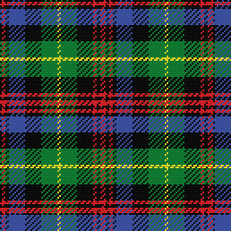 vector seamless pattern Scottish tartan Black Watch, black, red,green, yellow, blue Çizim
