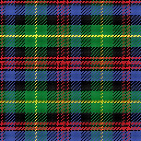 vector seamless pattern Scottish tartan Black Watch, black, red,green, yellow, blue Illustration