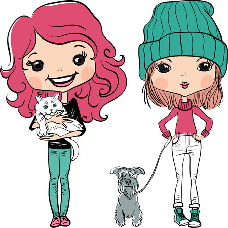 Vector Cute hipster baby girl with dog and cat