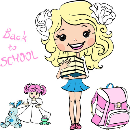 girl with bag: Vector Cute baby school girl  with books and schoolbag Illustration