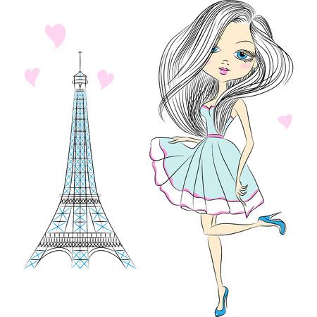 Beautiful fashion girl in an elegant short dress