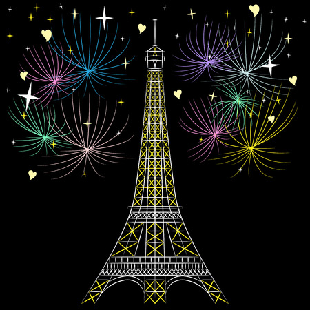 la tour eiffel: Vector Eiffel tower (La Tour Eiffel) in Paris, France Illustration