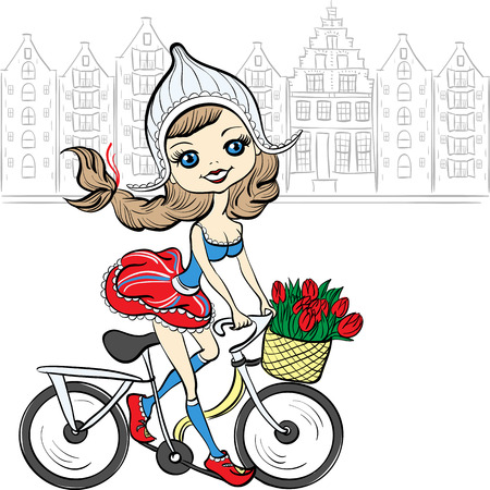 Cute beautiful fashionable baby girl rides a bike in Amsterdam Vector