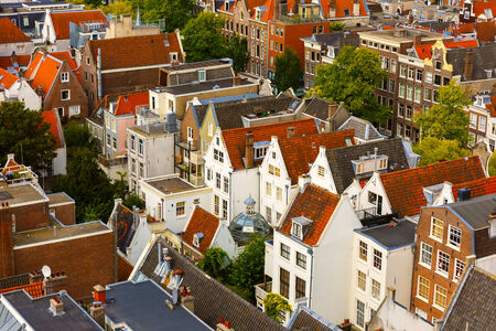 westerkerk: Roofs and facades of Amsterdam  City view from the bell tower of the church Westerkerk, Holland, Netherlands