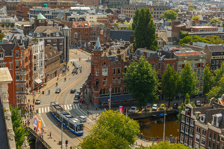 westerkerk: Amsterdam, Netherlands - August 5, 2014  Streets and canals in the city center  City view from the bell tower of the church Westerkerk, Holland, Netherlands on 5 August 2014