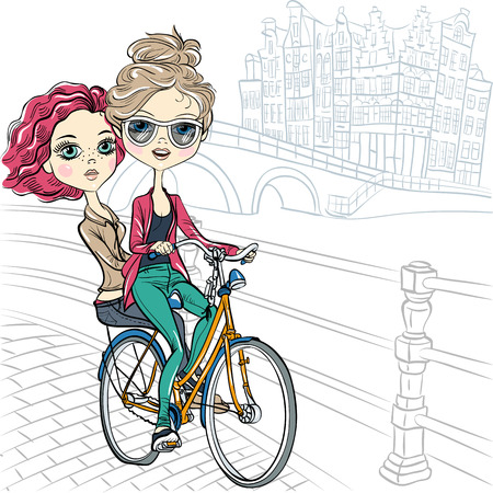 two girls: Cute beautiful fashionable girls ride a bike in Amsterdam Illustration