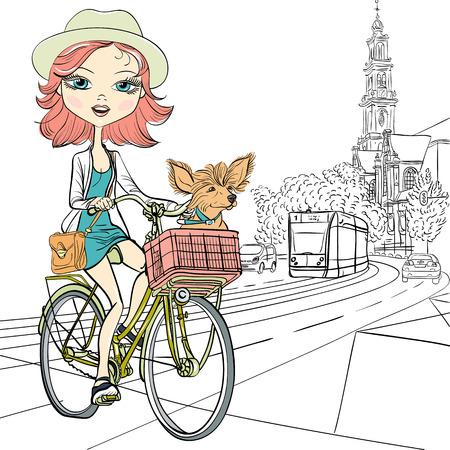 illustrazione moda: Carino bella ragazza alla moda con il cane cavalca una bici ad Amsterdam