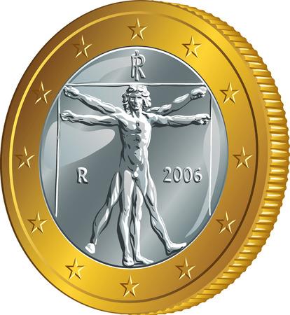 euro coin: Italian money gold coin euro with the image of Vitruvian Man