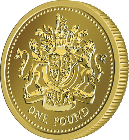 pound coin: British money gold coin one pound with the image of a heraldic lion, unicorn, shield and crown, isolated on white background Illustration