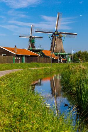 petrol powered: Picturesque rural landscape with windmills in Zaanse Schans, Holland, Netherlands