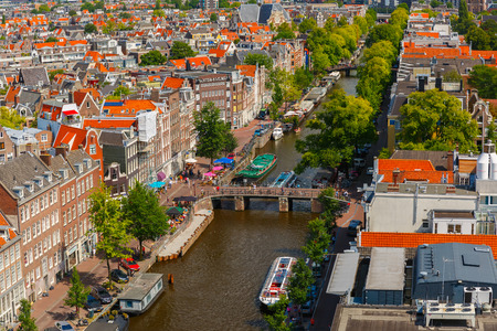 westerkerk: Amsterdam, Netherlands - August 5, 2014: Canal Prinsengracht and houses of Amsterdam. City view from the bell tower of the church Westerkerk, Holland, Netherlands.