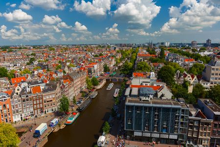 westerkerk: Amsterdam, Netherlands - August 5, 2014: Canal Prinsengracht and Anne Frank House of Amsterdam. City view from the bell tower of the church Westerkerk, Holland, Netherlands.
