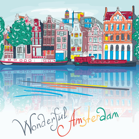 canal: City view of Amsterdam canal, typical dutch houses and boats, Holland, Netherlands.  Illustration
