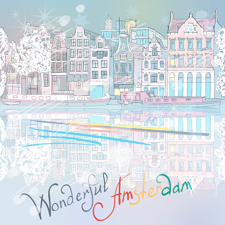 Christmas city view of Amsterdam canal, typical dutch houses and boats, Holland, Netherlands.  Vector