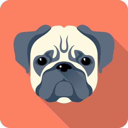 dog Pug icon flat design