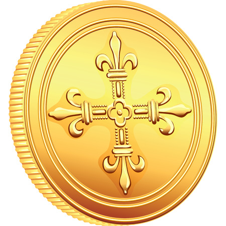 reverse: reverse old French gold coin with the image of a flowering crowns Cross Illustration