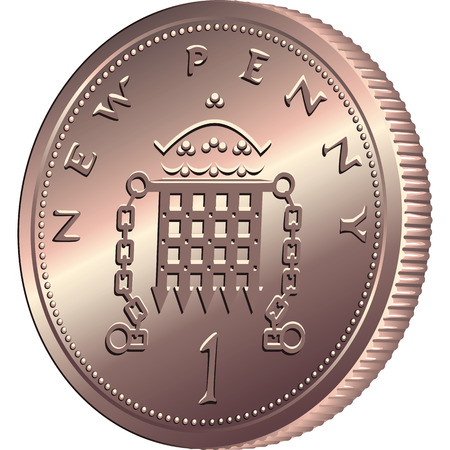 british money: British money bronze coin new one penny with portcullis and crown, isolated on white background