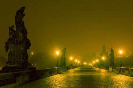 ghost town: Charles Bridge in Prague (Czech Republic) at night lighting. Long exposure.
