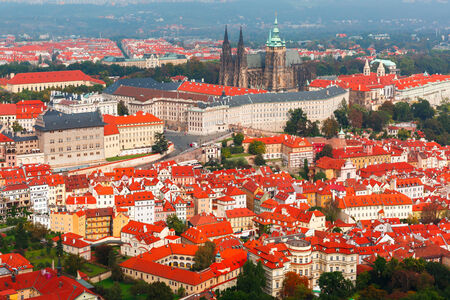 Aerial view over Prague Castle and Hradcany in Prague, Czech Republic photo