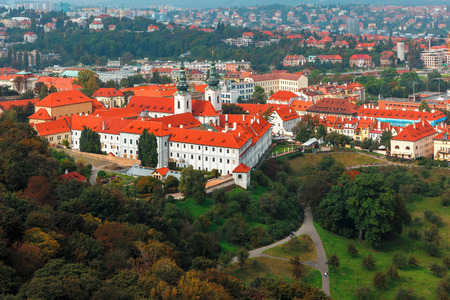 Aerial view over Strahov Monastery and Hradcany in Prague, Czech Republic