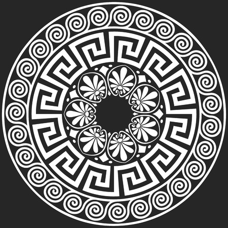 ancient greek: set Traditional vintage white round Greek ornament (Meander) and floral pattern on a black background