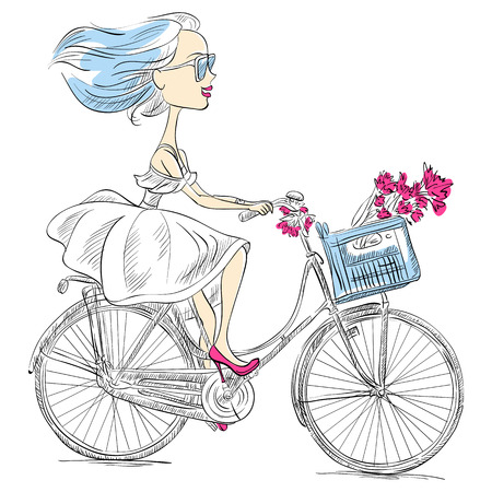 girl with glasses: Cute beautiful fashionable girl in dress rides a bike Illustration
