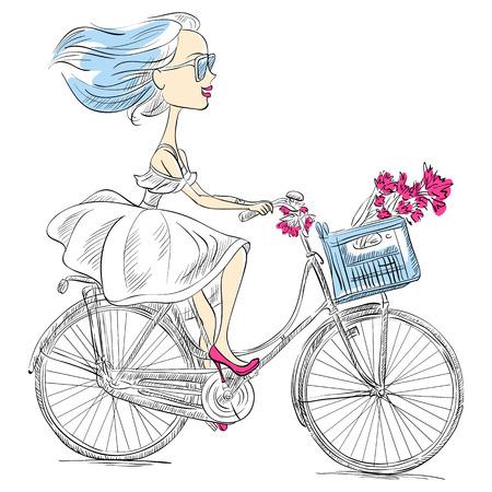 pretty girl: Cute beautiful fashionable girl in dress rides a bike Illustration