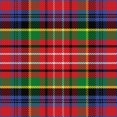 vector seamless pattern Caledonia Scottish tartan, black, white, blue; yellow, green; red Vettoriali