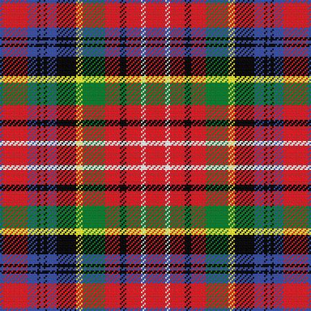 vector seamless pattern Caledonia Scottish tartan, black, white, blue; yellow, green; red Vectores