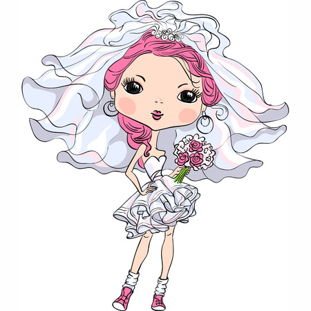 Beautiful fashionable girl bride in her wedding dress Vector