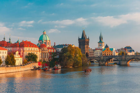 Charles Bridge and Old Town in Prague (Czech Republic) at evening photo