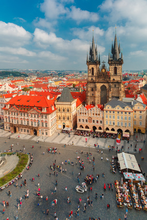 Prague, Czech Republic - October 3, 2014: Aerial view over Old Town square and Church of Mother of God in front of Tyn.