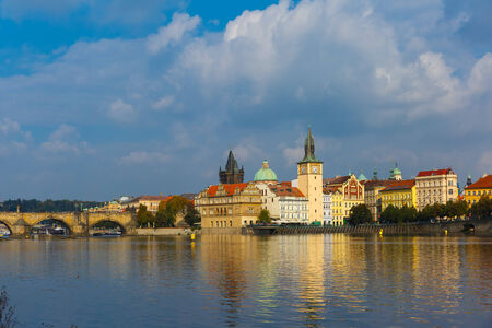Picturesque view over Old Town square, Prague Castle and Hradcany in Prague, Czech Republic photo