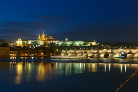 Prague Castle, Charles Bridge and the Little Quarter at night illumination, Prague, Czech Republic