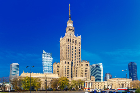 popular science: Palace of Culture and Science (Palac Kultury i Nauki) at morning, Warsaw city downtown, Poland.