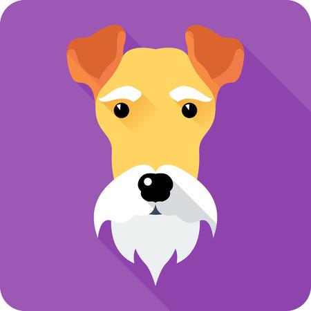 fox terrier: Fox Terrier dog icon flat design