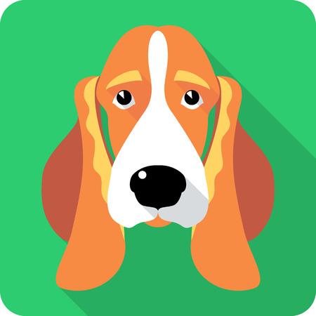 basset hound: dog Basset Hound icon flat design Illustration