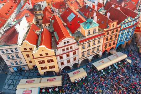 Prague, Czech Republic - October 3, 2014: Aerial view over Old Town square. Prague - one of the most beautiful cities in Europe, a popular tourist center.
