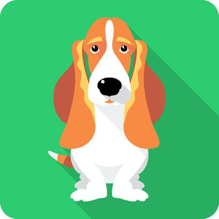 basset hound: perro Basset Hound sentado icono de dise�o plano Vectores