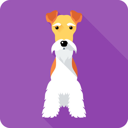 sits: Fox Terrier dog sits icon flat design