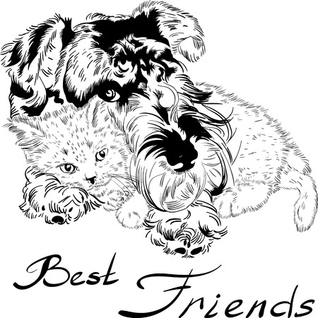 Sweet dog with cute kitten hand drawing vector Vector