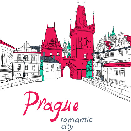 Vector sketch of landscape with Charles Bridge in Prague Vector