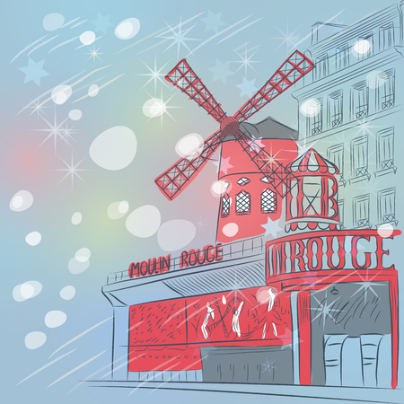 rouge: Vector sketch of christmas landscape with cabaret Moulin Rouge in Paris