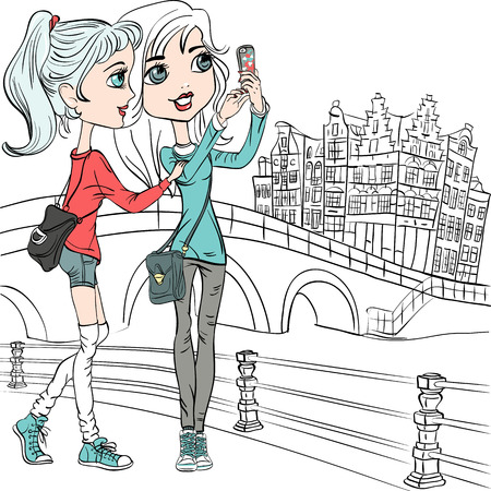 cute teen girl: Cute beautiful hipster girls make selfie on a bridge in Amsterdam Illustration